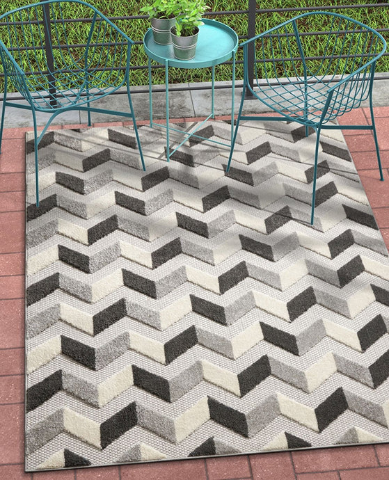 Chevron Gray White High Traffic Stain Resistant Indoor Outdoor Area Rug