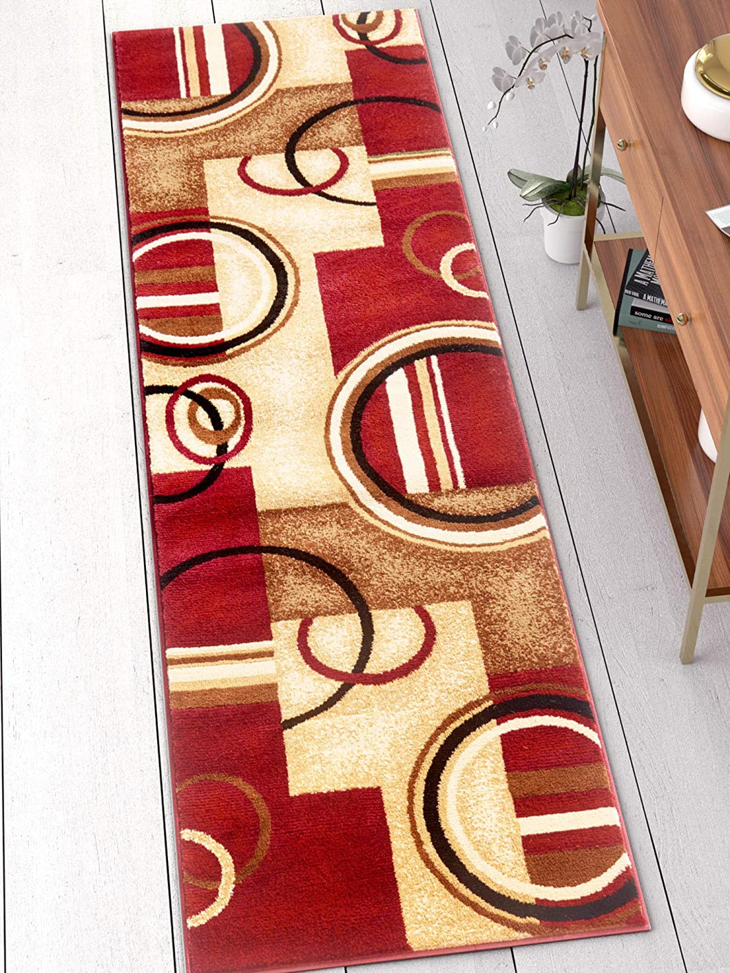 Modern Geometric Circles Red Multi Soft Area Rugs