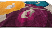 Floral Blue Yellow Purple Multi-color Area Rug