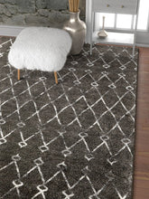 Trellis Gray Distressed Lattice Area Rugs