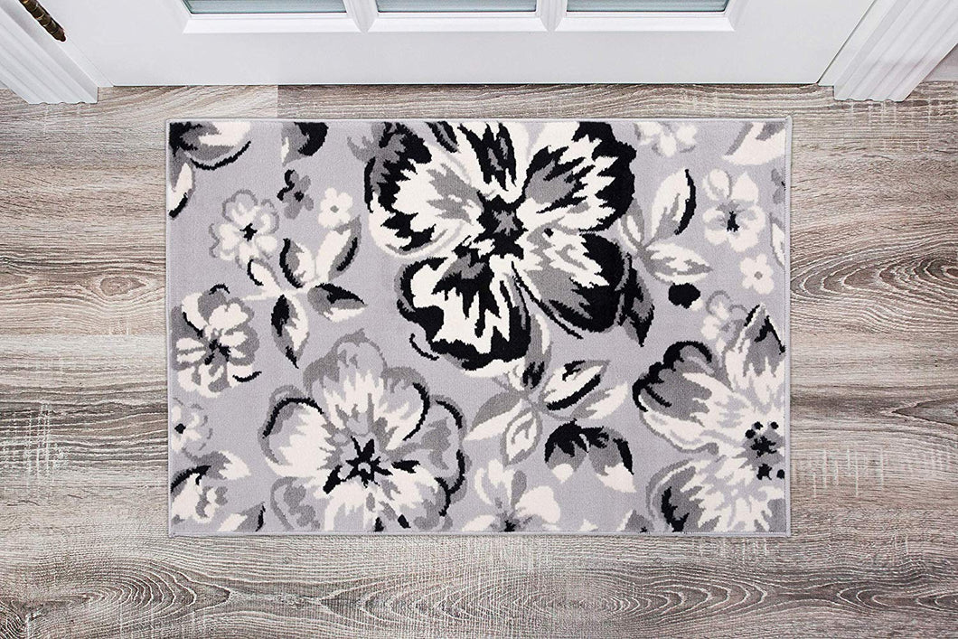 Gray/Grey Black White Floral Area Rugs
