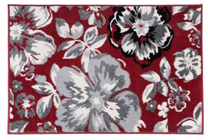 Floral Burgundy White Black Gray Area Rugs