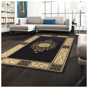 Floral Medallion Midnight Blue Area Rug