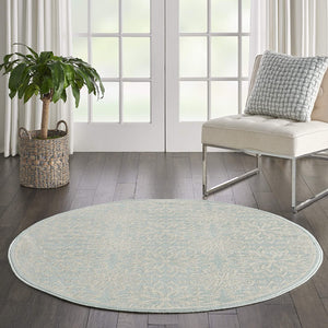 Transitional Floral Ivory/Green Area Rug