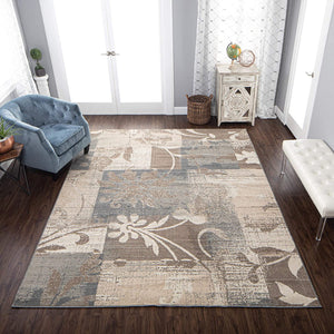 Floral Patchwork Design Light Brown Ivory Area Rug