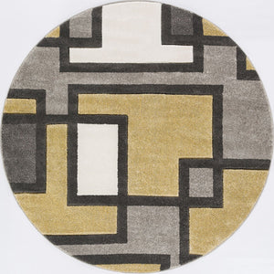 Modern Geometric Golden Yellow Gray Comfy Hand Carved Area Rugs