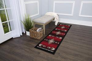 Southwest Black Red Ivory Low Pile Area Rugs