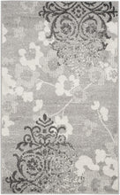 Silver and Ivory Contemporary Chic Damask Soft Area Rug