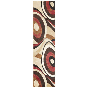 Contemporary Abstract Brown Red Soft Area Rugs