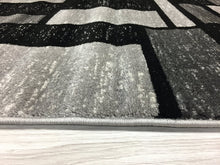 Gray/Grey Black Abstract Area Rug