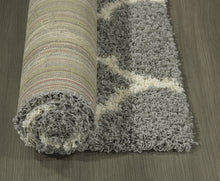 Gray Soft White Shag Trellis Area Rugs