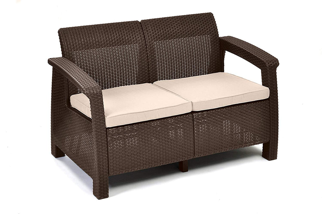 All Weather Indoor Outdoor Patio Love Seat Couch With Cushions - Perfect for Balcony, Deck, and Poolside Seating