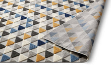 Geometric Triangles Blue Yellow High Traffic Stain Resistant Indoor Outdoor Area Rug