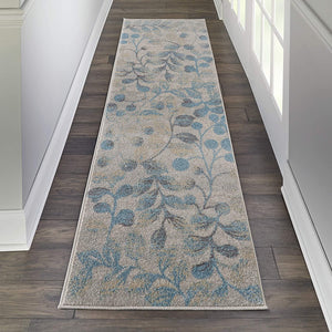 Tranquil Contemporary Botanical Ivory/Turquoise Soft Area Rug