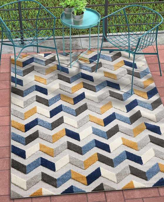 Chevron Mustard Yellow Blue Gray High Traffic Stain Resistant Indoor Outdoor Area Rug
