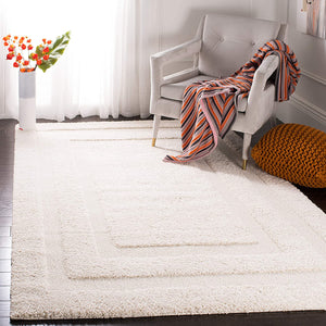 Cream Box Border Textured Thick Shag Area Rug