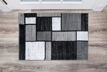 Box Pattern Gray/Grey Black White Area Rug