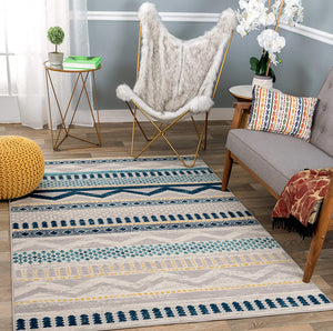 Contemporary Bohemian Blue Gray Ivory Area Rug