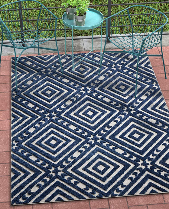 Geometric Blue Gray High Traffic Stain Resistant Indoor Outdoor Area Rug