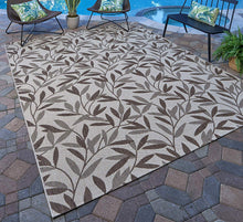 Beige Leaf Tropical Indoor Outdoor Patio Area Rug