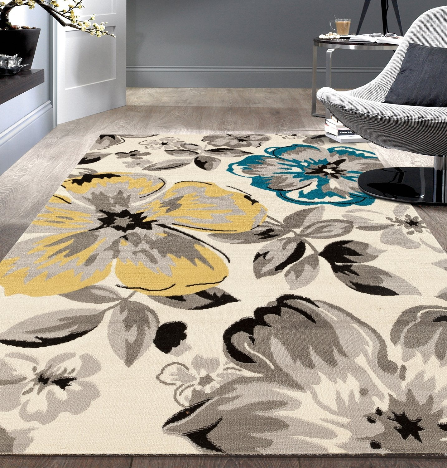 Floral Gray Grey Yellow Blue Area Rug Modern Rugs And Decor