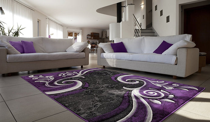 Modern Swirl Purple Black Area Rug