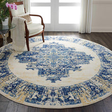 Navy Blue White Distressed Persian Area Rugs