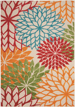 Floral Indoor/Outdoor Red Multi-color Area Rug