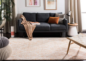 Geometric Trellis Distressed Cream/Orange Soft Area Rug