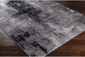 Modern Abstract Soft Area Rug, Black/Navy