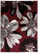 Floral Red Gray Black Area Rug