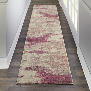 Modern Abstract Area Rug Ivory/Pink,