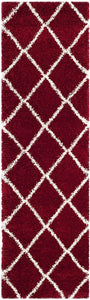 Diamond Trellis Red/Ivory Soft Plush Shag Area Rug 2-inch Thick