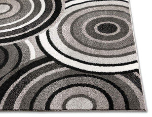 Abstract Grey Black Circles Area Rugs