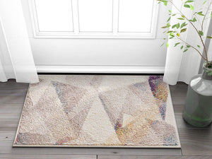 Modern Triangle Pattern Abstract Beige Multi-Color Soft Area Rug