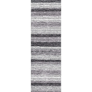 Premium Handmade Striped Gray Plush Shag Area Rugs