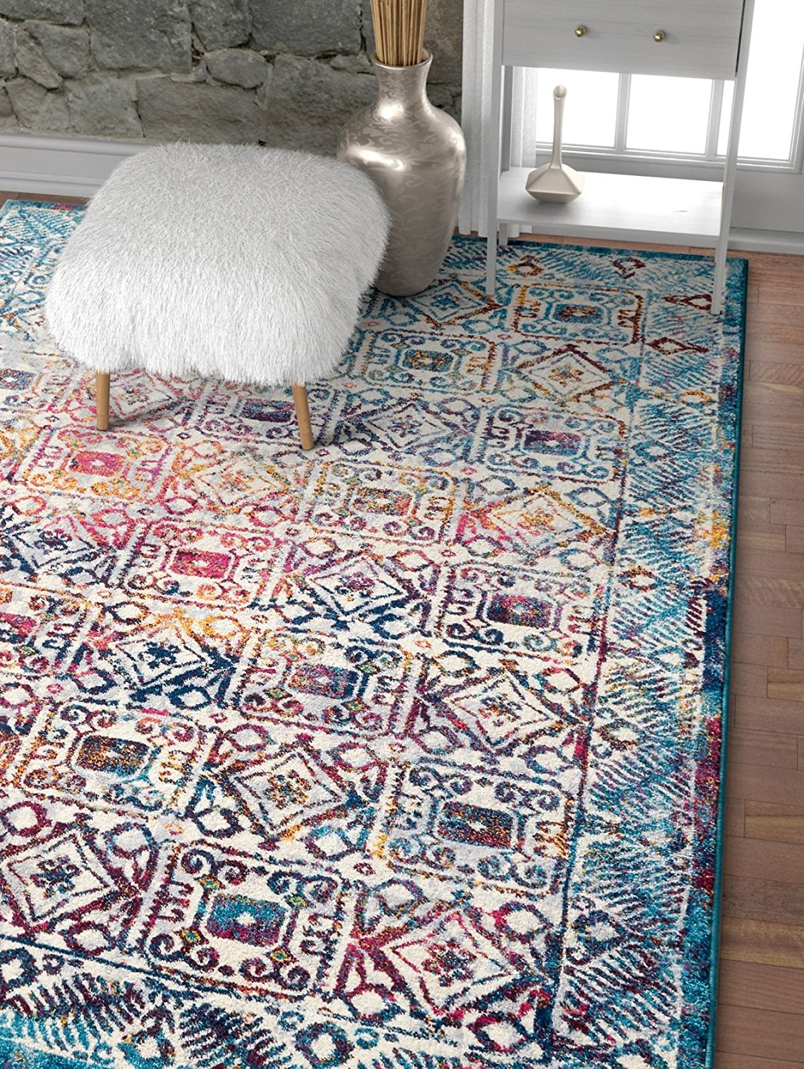 Blue Fuchsia Pink Vintage Floral Area Rugs Modern Rugs And Decor