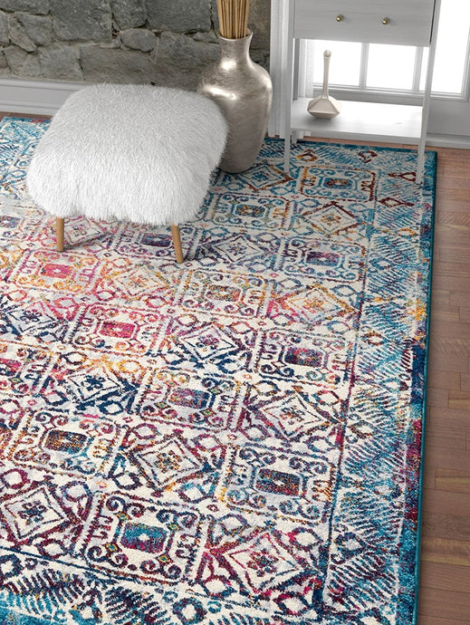 Blue Fuchsia Pink Vintage Floral Area Rugs