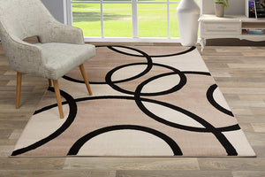 Contemporary Abstract Circles Soft Beige Area Rug