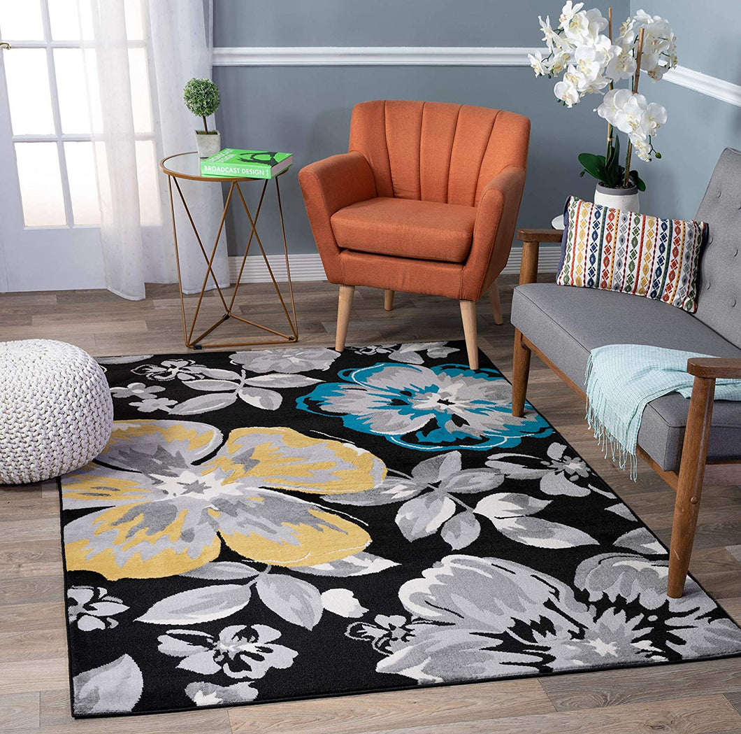 Floral Black Yellow Teal Blue Gray Area Rugs
