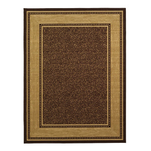 Brown Bordered Design Area Rug - Non-Slip/ No Skid