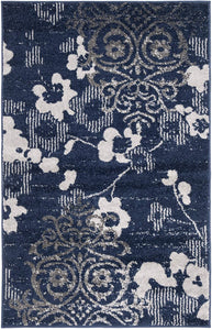 Light Blue and Dark Blue Contemporary Chic Damask Soft Area Rug