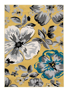 Floral Yellow Gray Teal Blue Area Rugs