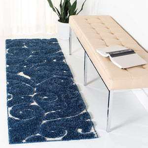 Premium Swirl Thick Plush  Dark Blue/Cream   Area Shag Rug