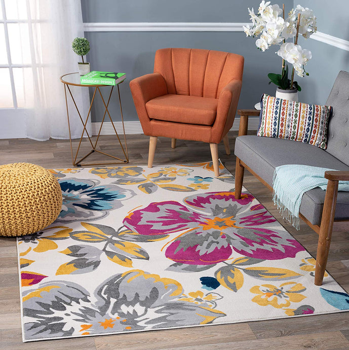 Floral Multi-color Gray Yellow Fuchsia Area Rugs