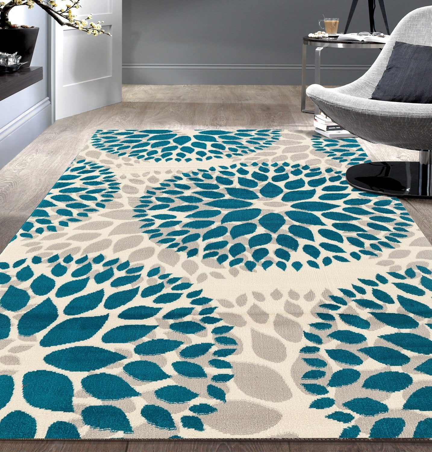 Floral Gray Grey Turquoise Blue Area Rug Modern Rugs And Decor