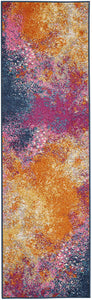 Modern Abstract Colorful Sunburst Area Rug,