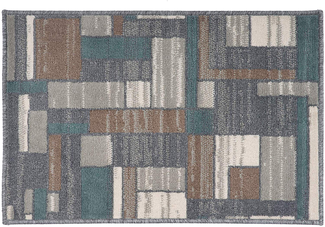 Boxes Distressed Pattern Soft Gray Brown Navy Beige Area Rug