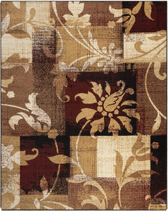 Geometric Patchwork Distressed Burgundy Soft Area Rug - Multiple Sizes Available