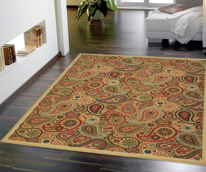 Paisley Design Multi-color Area Rug and Runners Non-Slip/ No Skid